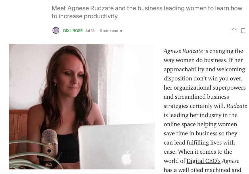 ritch.co media feature interview Agnese RUdzate productivity in business